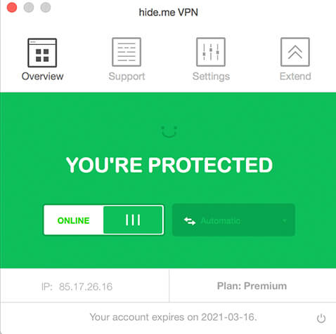 hide.me VPN for Mac OS X