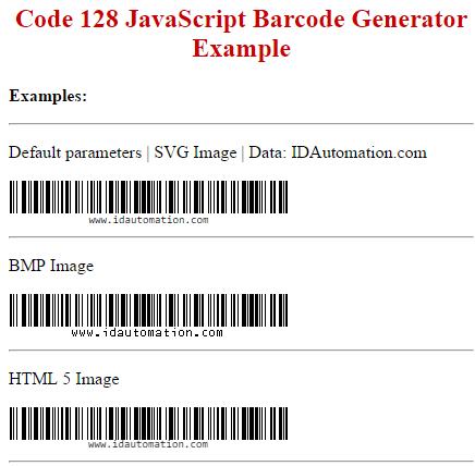Download Code-128 GS1-128 JavaScript Generator