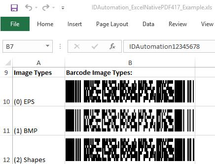 Download PDF417 Native Excel Barcode Generator