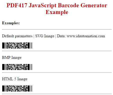 Download PDF417 SVG JavaScript Barcode Generator